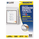 Magnetic Cubicle Keepers Display Holders, 8 1/2 x 11, Clear, 2/Pack CLI37911