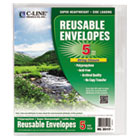 Reusable Poly Envelope, String Closure, 1 Inch Gusset, 9 4/5 x 11 3/4, Clear CLI35117