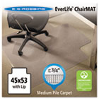 EverLife Chair Mats For Medium Pile Carpet With Lip, 45 x 53, Clear ESR122173