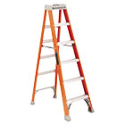 "Fiberglass Heavy Duty Step Ladder, 73.59"", Orange, 5 Steps DADFS1506"