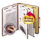 Pressboard Classification Folders, Self Tab, Letter, Six-Section, Red, 10/Box SMD14075