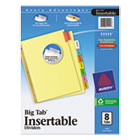WorkSaver Big Tab Reinforced Dividers, Multicolor Tabs, 8-Tab, Ltr, Buff, 1/Set AVE11111