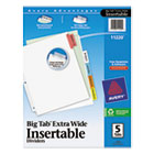 WorkSaver Big Tab Extrawide Dividers W/ 5 Multicolor Tabs, 9 x 11, White, 1/Set AVE11220