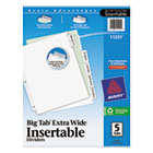 WorkSaver Big Tab Extrawide Dividers, Clear Tabs, 5-Tab, 9 x 11, White, 1/Set AVE11221