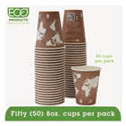 World Art Renewable Resource Compostable Hot Drink Cups, 8oz, Plum, 50/Pack ECOEPBHC8WAPK