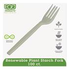 Plant Starch Fork, Cream, 50/Pack ECOEPS002PK