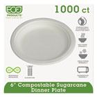 "Compostable Sugarcane Dinnerware, 6"" Plate, Natural White, 1000/Carton ECOEPP016"