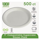 "Compostable Sugarcane Dinnerware, 9"" Plate, Natural White, 500/Carton ECOEPP013"
