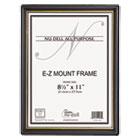 EZ Mount Document Frame w/Trim Accent, Plastic, 8-1/2 x 11, Black/Gold, 18/CT NUD11818