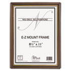 EZ Mount Document Frame with Trim Accent, Plastic, 8-1/2 x 11, Walnut/Gold NUD11890