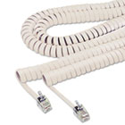 Coiled Phone Cord, Plug/Plug, 12 ft., Ivory SOF48100