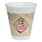 Cafe G Foam Hot/Cold Cups, 12 oz, Brown/Red/White, 20/Pack DRC12X16GPK