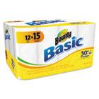 Bounty Basic Kitchen Roll Paper Towels, 1 Ply, 10.4 x 11 in, White, 60 sht/rl, 12 rl/pk PGC84683