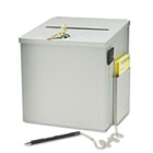 Recycled Steel Suggestion Box with Locking Top, 8 1/2 x 8 x 9 3/4, Platinum BDY562032