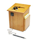 Solid Wood Suggestion Box with Locking Top, 7 1/2 x 7 1/4 x 10, Medium Oak BDY562211