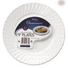 "Classicware Plastic Dinnerware Plates, 9"" Dia, White, 12/Bag, 180/Carton WNARSCW91512WPK"