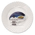 "Classicware Plastic Dinnerware Plates, 10 1/4"" Dia, White, 12/Pack WNARSC101212WPK"