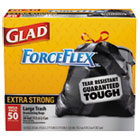 Glad Drawstring Outdoor Trash Bags, ForceFlex, 30 x 32, Black, 50/Box CLO78539BX