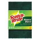 "Heavy-Duty Scour Pad, 3.8w x 6""L, Green, 3/Pack MMM223"