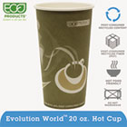 Evolution World 24% PCF Hot Drink Cups, 20oz, Gray, 50/Pack ECOEPBRHC20EWPK