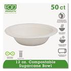 Compostable Sugarcane Dinnerware, 12oz Bowl, Natural White, 50/Pack ECOEPBL12PK