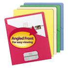 Slash Pocket Folders, Letter, 11 Point, Blue/Green/Manila/Red/Yellow, 25/Pack SMD75425