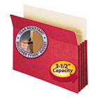 "3 1/2"" Exp Colored File Pocket, Straight Tab, Letter, Red SMD73231"
