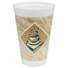 Café G Hot/Cold Cups, Foam, 16 oz, White/Brown with Green Accents, 25/Pack DRC16X16GPK