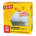 Glad® Tall Kitchen Drawstring Bags, 24 x 27 3/8, 13gal, .95mil, White, 100/Box COX78526