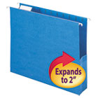 "2"" Capacity Closed Side Flexible Hanging File Pockets, Letter, Sky Blue, 25/Box SMD64250"