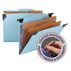 Six Section Hanging Classification Folder, Pressboard/Kraft, Letter, Blue SMD65115