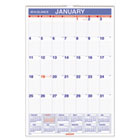 "Recycled Monthly Wall Calendar, Blue and Red,15 1/2"" x 22 3/4"", 2013 AAGPM328"
