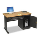 LX48 Computer Security Workstation, 48w x 24d x 28-3/4h, Teak/Black BLT89843
