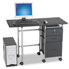 Fold-N-Stow Workstation, 41-3/4w x 19-7/8d x 29-3/4h, Black/Silver BLT89886