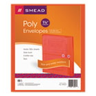 Poly String & Button Booklet Envelope, 9 3/4 x 11 5/8 x 1 1/4, Red, 5/Pack SMD89527