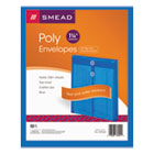 Poly String & Button Envelope, 9 3/4 x 11 5/8 x 1 1/4, Blue, 5/Pack SMD89542