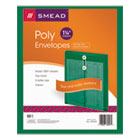 Poly String & Button Envelope, 9 3/4 x 11 5/8 x 1 1/4, Green, 5/Pack SMD89543