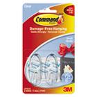 Clear Hooks & Strips, Plastic, Small, 2 Hooks & 4 Strips/Pack MMM17092CLR
