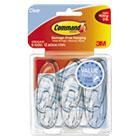 Clear Hooks & Strips, Plastic, Medium, 6 Hooks & 12 Strips/Pack MMM17091CLRVP