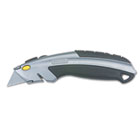 Curved Quick-Change Utility Knife, Stainless Steel Retractable Blade, 3 Blades BOS10788