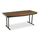 Economy Conference Folding Table, Boat, 72w x 36d x 30h, Walnut/Black BRKECT366WA