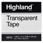 "Transparent Tape, 1/2"" x 1296"", 1"" Core, Clear MMM5910121296"