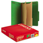 Classification Folders, Letter Size, 6 Section, 2 Dividers, Emerald Green Pressboard, Top Tab, 10/Box UNV10302