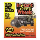 Roll-Arounds Instant Swivel Wheels, Self-Adhesive, Black, 4/Set MAS17240