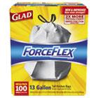 Glad ForceFlex Tall Kitchen Drawstring Bags, 13 gal, .90mil, 24x25 1/8 White 100/Bx CLO70427