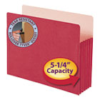 "5 1/4"" Exp Colored File Pocket, Straight Tab, Letter, Red SMD73241"