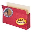 "3 1/2"" Exp Colored File Pocket, Straight Tab, Legal, Red SMD74231"