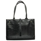 Carry items in leather tote bag