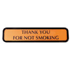 Molded Wall Sign, THANK YOU FOR NOT SMOKING, 8 x 1/4 x 2, Bronze/Black COS098042