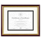 Document/Certificate Frame w/Mat, Laminated Wood, 11 x 14, Mahogany/Gold Leaf DAX2703S2RX